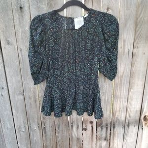 Anthropologie Meadow rue  peplum  blouse size xs